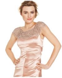 Xscape - Pink Cap-Sleeve Beaded Mermaid Gown - Lyst