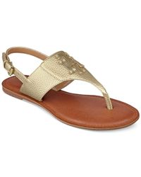 Tommy Hilfiger | Metallic Laney Flat Thong Sandals | Lyst