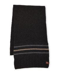 Ben Sherman - Black Ribbed Knit Stripe Scarf for Men - Lyst