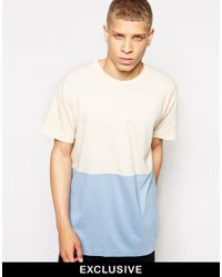 American Apparel - Blue T-Shirt In Colour Block for Men - Lyst