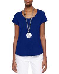 Eileen Fisher - Blue Slubby Short-sleeve Scoop-neck Tee - Lyst