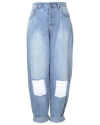 TOPSHOP Blue Surf Ripped Baggy Jeans