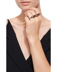 Ara Vartanian Metallic Yellow Gold Three Finger Ring With Brown, Black And White Diamonds
