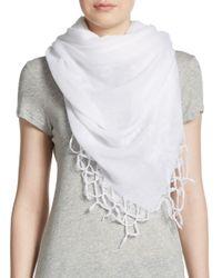 Natasha Couture White Solid Fringed Scarf