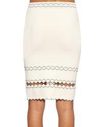 Alexander McQueen White Contrast-trimmed Knit Skirt