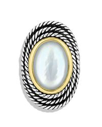 David Yurman Metallic Cable Coil Ring With Moon Quartz
