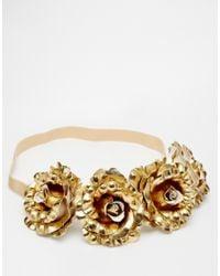 ASOS - Metallic Golden Rose Headband - Lyst
