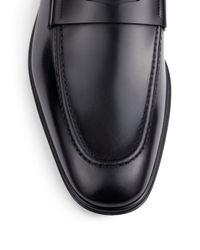 Ferragamo - Black Rocco Leather Penny Loafers for Men - Lyst