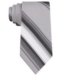 Calvin Klein - Black Havana Stripe Slim Tie for Men - Lyst