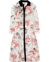Prabal Gurung White Silk Crepe-trimmed Cotton Shirt Dress