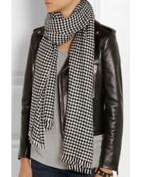 Saint Laurent Black Houndstooth Woolblend Scarf