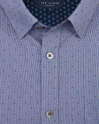Ted Baker Blue Burcin Micro Check Dobby Shirt for men