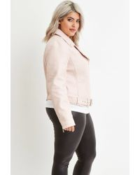 Forever 21 | Pink Plus Size Faux Leather Moto Jacket | Lyst