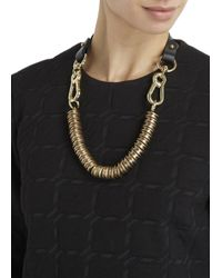 Moxham - Snipe Black Leather And Gold Plated Chain Necklace - Lyst