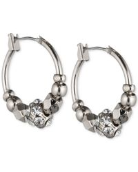 Nine West | Metallic Crystal Hoops Earrings | Lyst