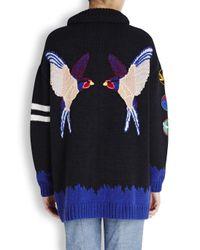 Stella McCartney Blue Navy Swallow Intarsia Cotton Blend Cardigan