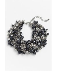 Nina - Gray 'peony' Glass Pearl & Crystal Cluster Bracelet - Lyst