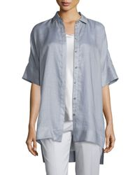 Lafayette 148 New York - Metallic Andra Gemma Cloth Short-sleeve Blouse - Lyst