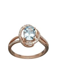 Lord & Taylor | Blue 14k Rose Gold Aqua And Diamond Ring | Lyst
