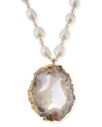 Nakamol Metallic Pearl Necklace With Druzy Pendant
