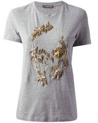 Alexander McQueen Gray Embellished T-Shirt