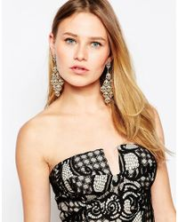 Lipsy - Metallic Crystal Chandelier Earrings - Lyst