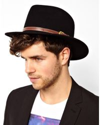 ASOS - Fedora Hat In Black With Faux Leather Trim for Men - Lyst