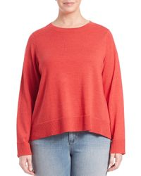 Eileen Fisher | Red Bateau-neck Boxy Sweater | Lyst