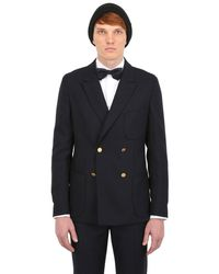Façonnable Blue Double Breasted Wool Canvas Jacket for men