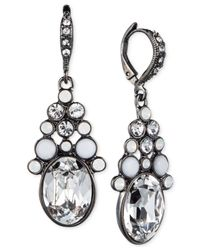 Givenchy | White Hematite-Tone Crystal Opal Drop Earrings | Lyst