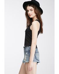 Forever 21 - Black Ribbed Knit Tank - Lyst