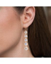 Anne Sisteron Metallic 14kt Yellow Gold 4 Diamond Sliced Drop Earrings