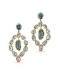 Anne Sisteron | Multicolor 14kt Yellow Gold Opal Sapphire Earrings | Lyst