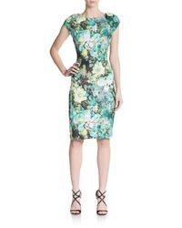 Eci   Green Floral-print Sheath Dress   Lyst