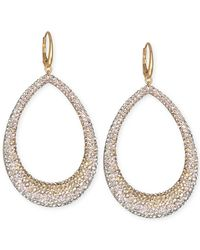 Swarovski | Metallic Gold-tone Graduated Crystal Open Teardrop Earrings | Lyst