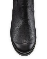 HUNTER Black Original Leather Chelsea Boots