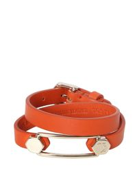 Tod's | Orange Wrap Around Leather Bracelet With Pin | Lyst