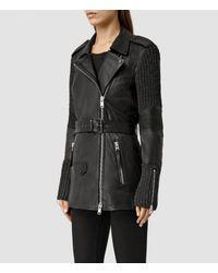 AllSaints - Black Denell Oversized Biker Jacket - Lyst