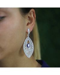 Inbar - Carved White Jade And Tanzanite Earrings - Lyst