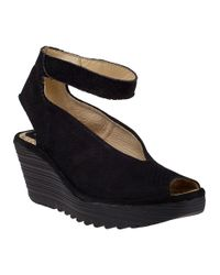 Fly London - Yala Wedge Sandal Perforated Black Suede - Lyst