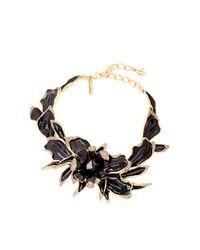 Oscar de la Renta | Metallic Orchid Enamel Necklace With Swarovski Crystals | Lyst