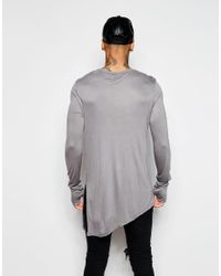 ASOS Gray Bamboo Jersey Super Longline Long Sleeve T-shirt With Asymmetric Hem for men