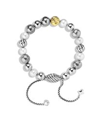 David Yurman Metallic Dy Elements Bracelet With Pearls And Gold