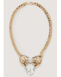 Bebe - Metallic Jaguar & Crystal Necklace - Lyst