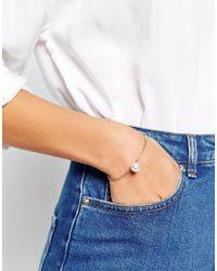 ASOS   Metallic Fine Cuff Bracelet With Faux Pearl   Lyst