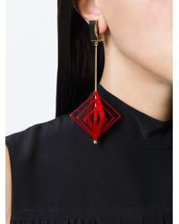 MSGM Red Geometric Clip-on Earrings