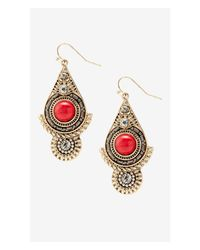 Express | Red Rhinestone And Howlite Medallion Earrings | Lyst