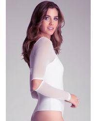 Bebe White Solid Long Sleeve Bodysuit