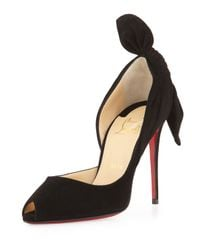 Christian Louboutin Black Barbara Knotted Half D'Orsay Pumps
