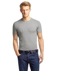 BOSS Green Gray Cotton Blend T-Shirt 'Tee Us' for men